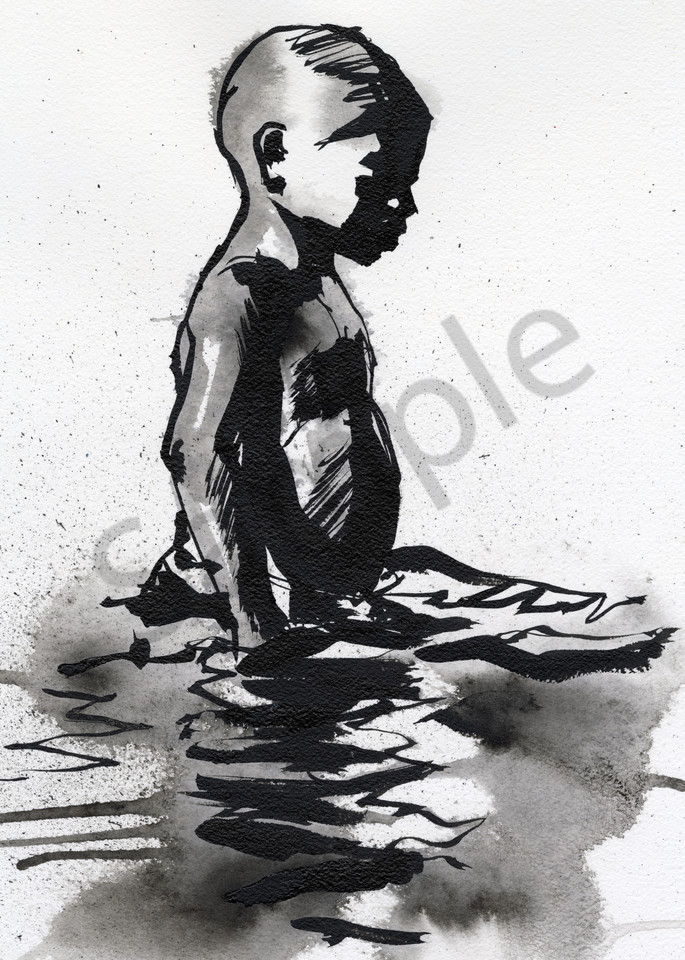 Ink drawing of a pensive Caribbean boy in the sea.