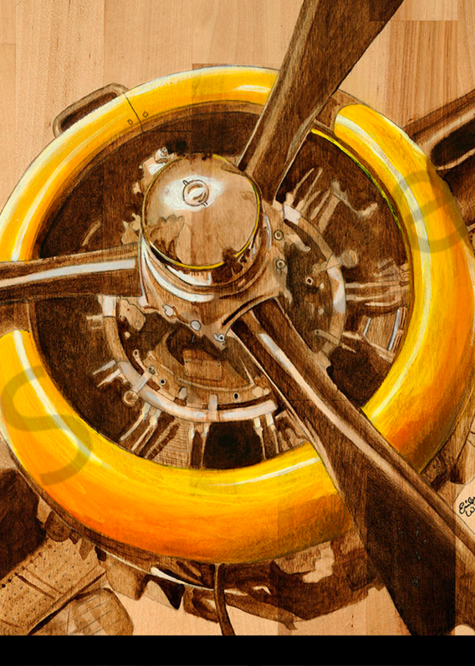 Yellow Radial B52 print form 3D stand off by Emily Willey.