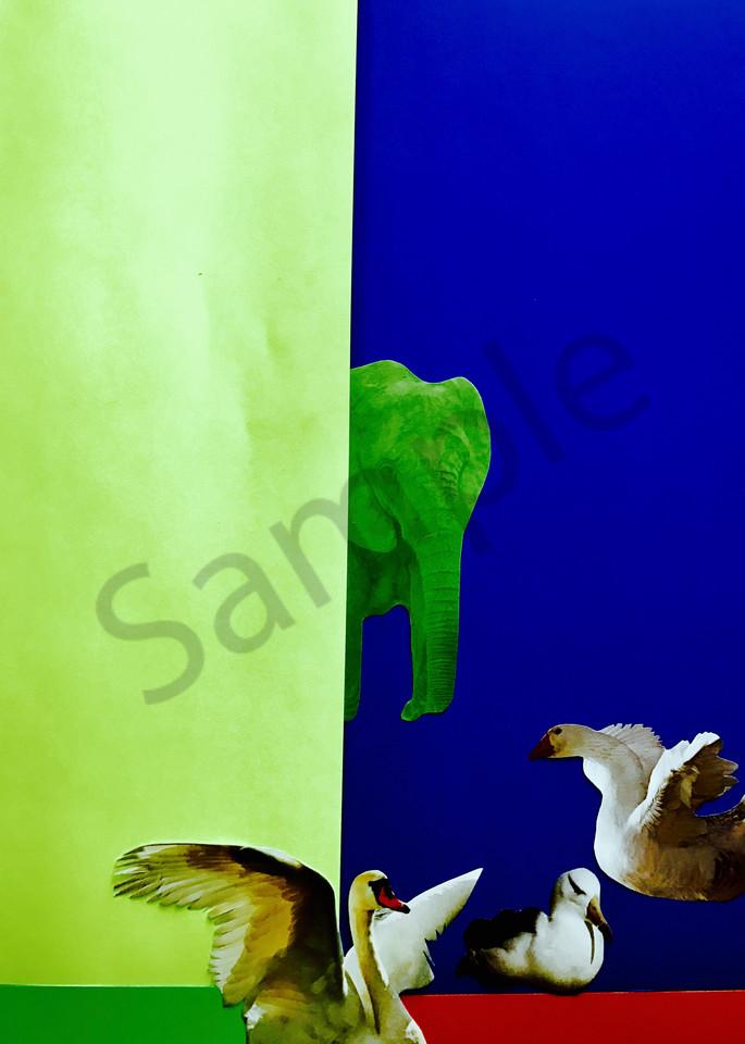Odeta Xheka Visuals   Art for Kids showing flying birds & elephant