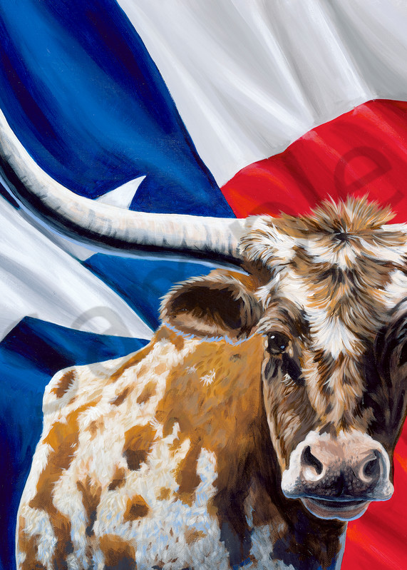 Longhorn and Texas flag painting