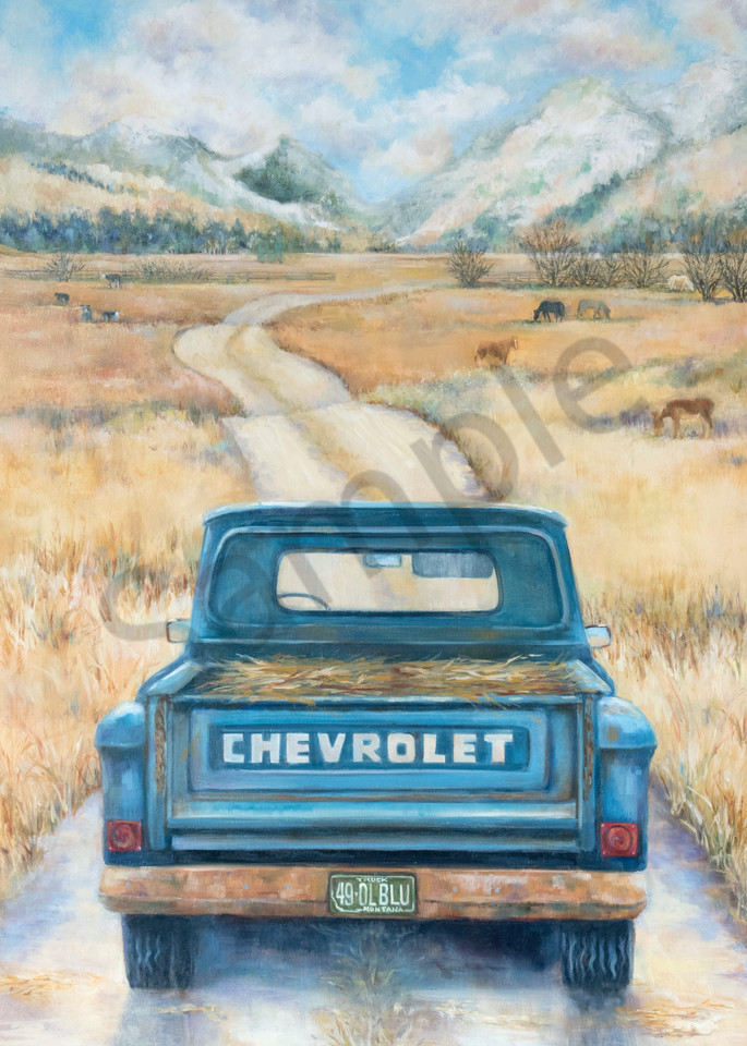 A painting of a blue chevy with hay in the bed on the way to feed the livestock