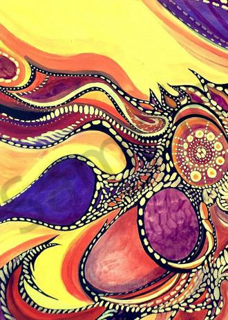 Visual Tapestry - Unique Aboriginal Abstract acrylic painting in purple / orange / yellow