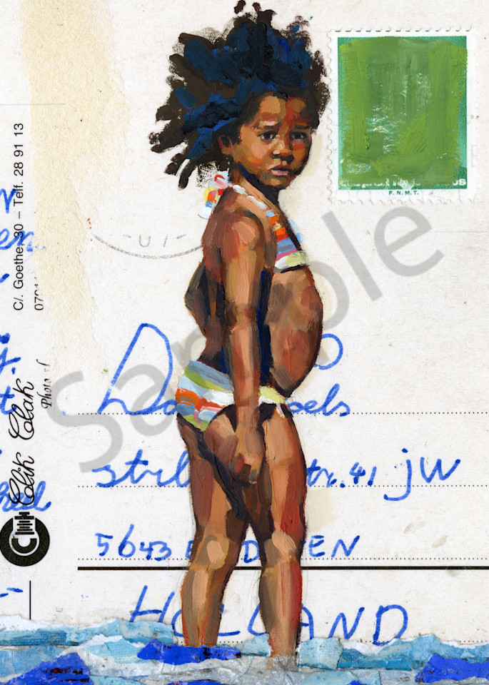 Oil painting of a Caribbean girl at the seaside.