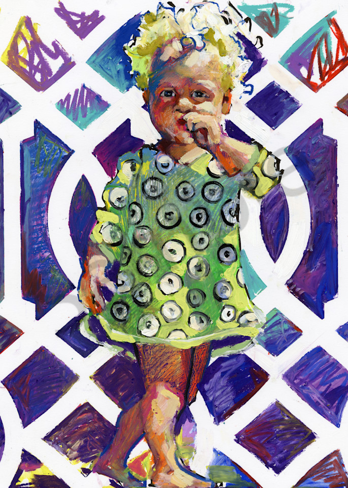 Oil painting of a Colorful Blond Girl against an abstract modern background.