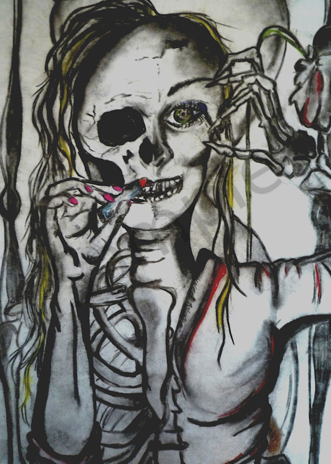 Artwork of woman transforming into a skeleton whilst putting on makeup.