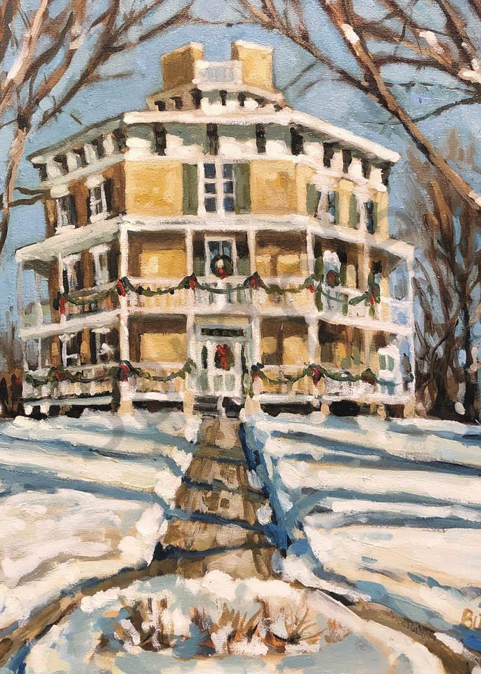 Octagon House In Winter Art   Geoffrey Butz Art & Design Inc