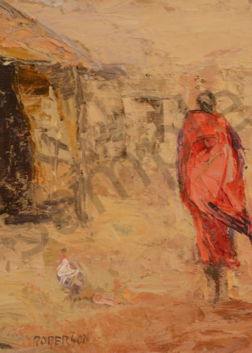 Two Maasai In Village With Chickens  Art   Mary Roberson