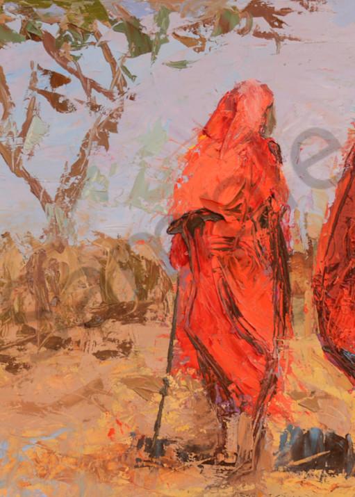 Two Maasai Warriors Herding Cattle  Art | Mary Roberson