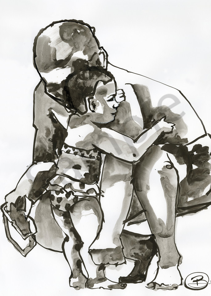 Ink painting of a little girl feeling save with her dad