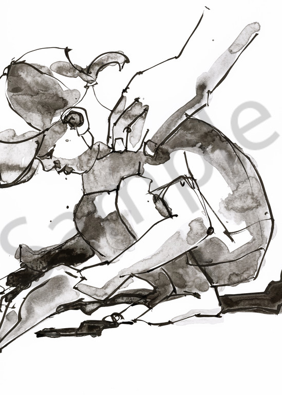 Ink painting of a boy playing with sand, watched over by his dad.