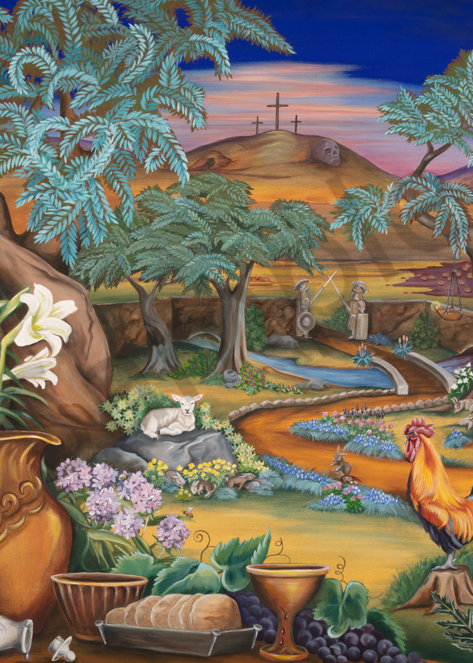 """""""Garden of Gethsemane"""" by Storypainting artist Wendy L. Wolf / Prophetics Gallery"""