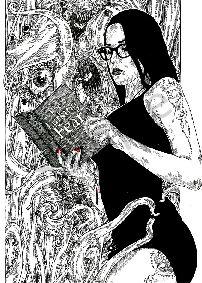 Goth girl reads the Lurking Fear
