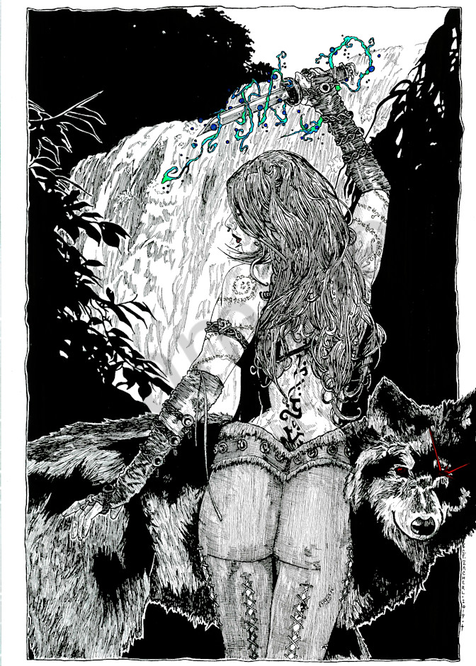 Fantasy girl with her warg.