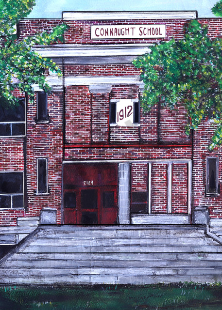 Painting of Regina Building depicting beloved elementary school, Connaught School