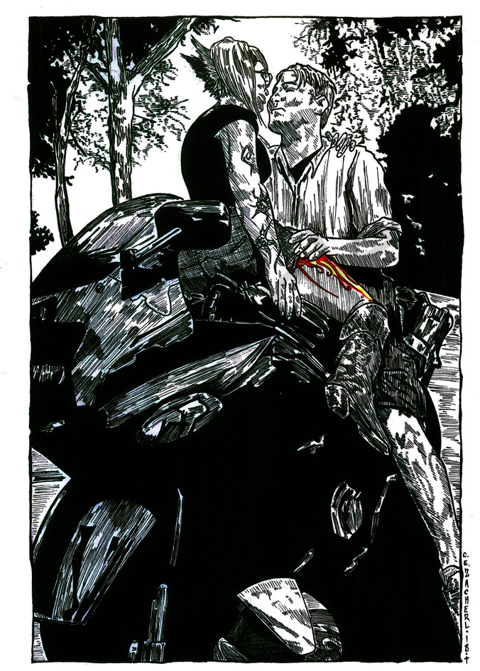 Kissing on a motorcycle.