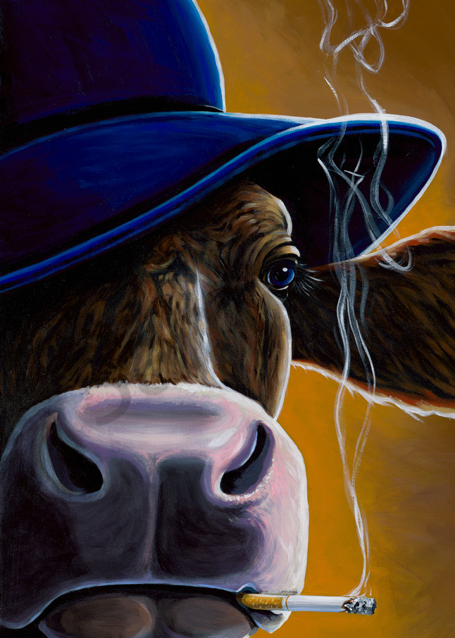 Painting of a cow wearing a hat and smoking