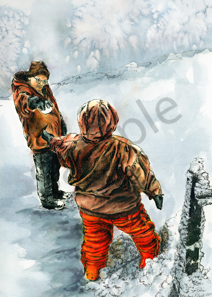 Inked Watercolor Painting - Passing the Snowball