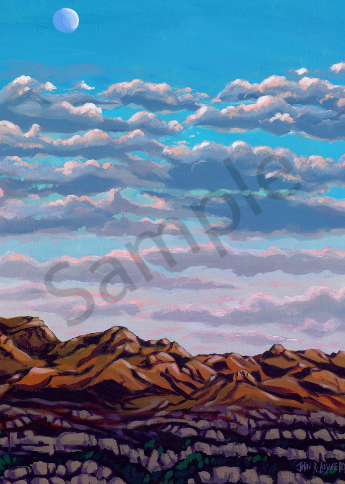 Paintings of the sun setting on the Terlingua, Texas landscape by John R. Lowery for sale as art prints.