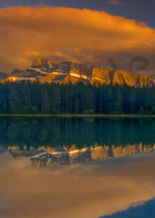 Two Jack Lake & Rundle. Banff|Canadian Rockies|Rocky Mountains|