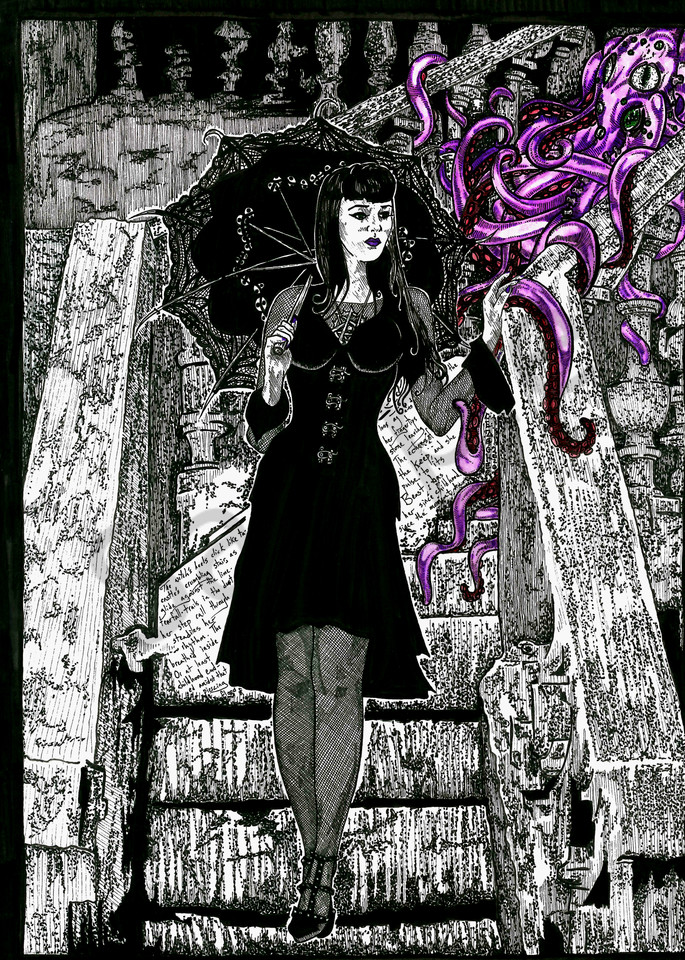 Portrait of a Gothic Pinup Girl.