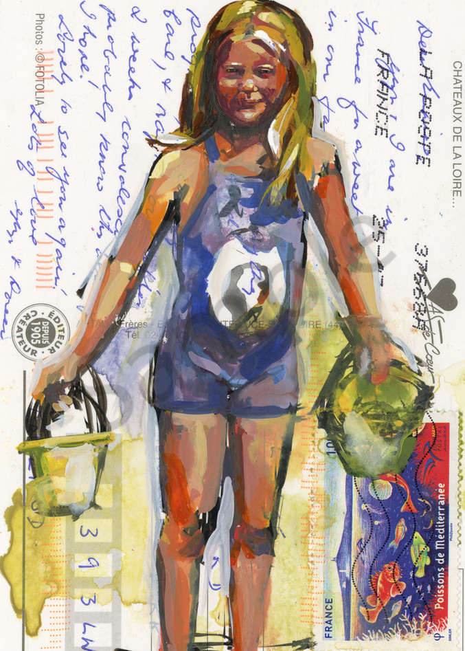 View my watercolor painting on paper of this beach girl.