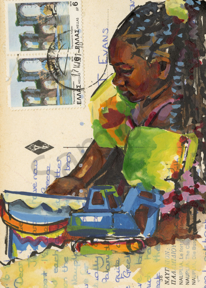 View here a watercolor painting I created of a colorful Caribbean Beach Girl.