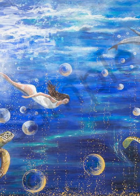 """Woman Underwater"" by German Prophetic Artist Angela Günther | Prophetics Gallery"
