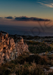 Sunset pano stone wall