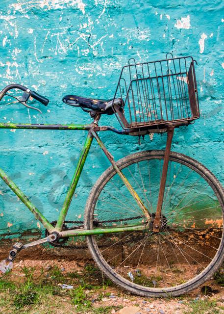 Teal wall bike