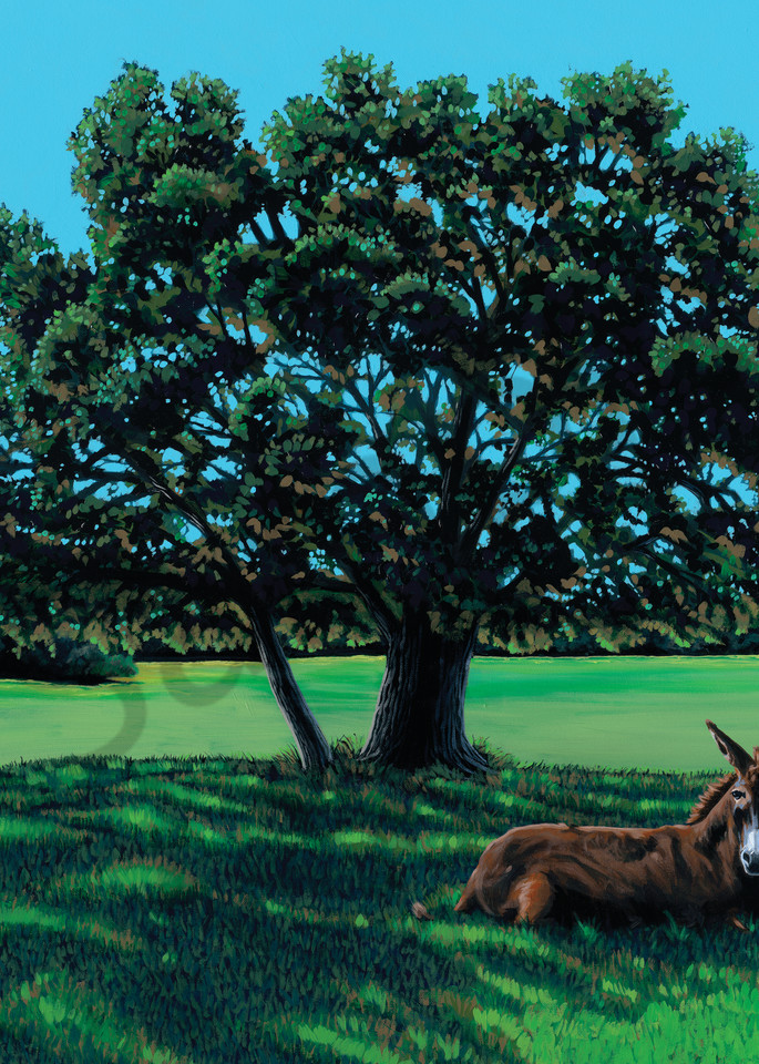 Original painting of an oak tree with a mule in the foreground, available as art prints.