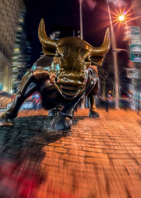 """Charging"" Wall Street bull"