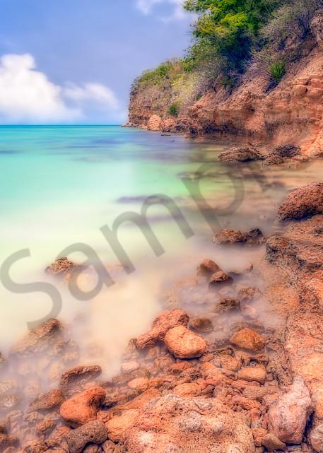 Soft-focus view of cliff in Antigua