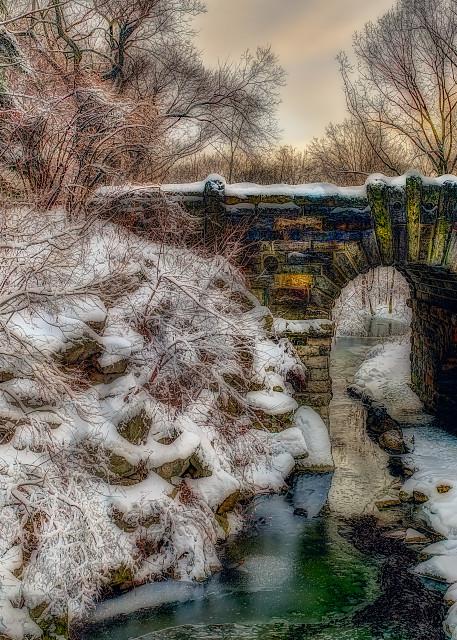 Snow-covered bridge in Central Park