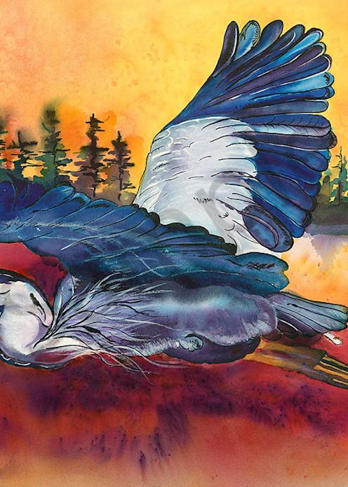 """""""Great Blue Heron at Sunrise"""" fine art print  by Kelly Wolske."""
