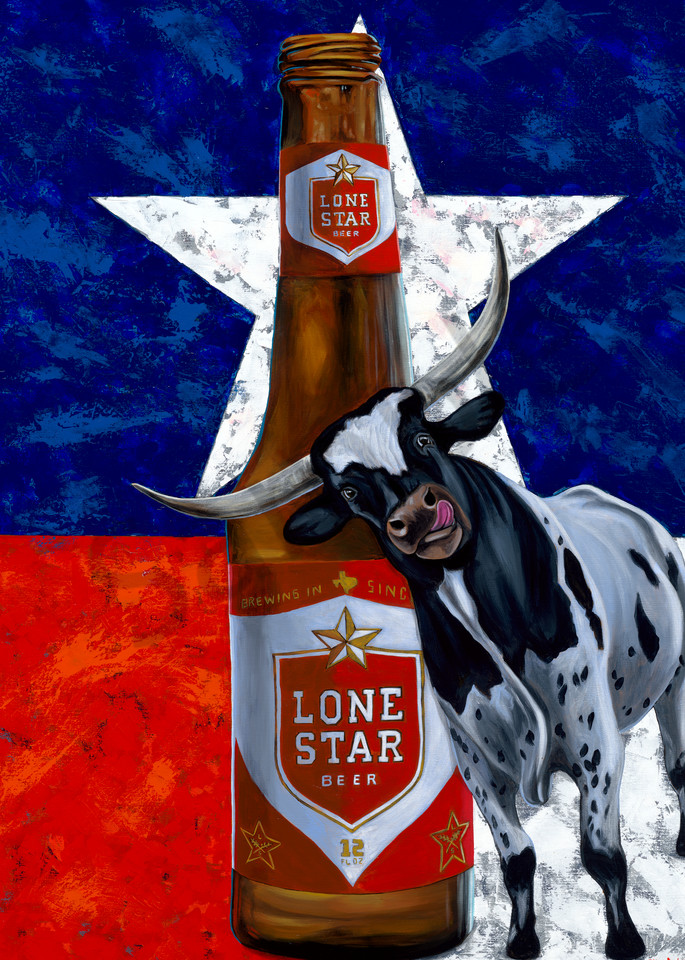 Texas Longhorn and Lone Star beer paintings by John R. Lowery for sale as art prints.