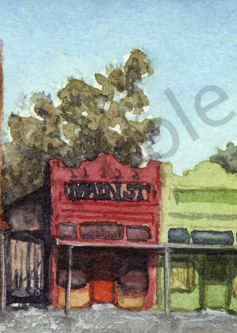 Main Street, Texas, Prints, Watercolor