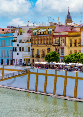 Art Print Seville Spain River Walk on Triana