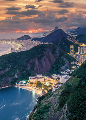 Print Art Rio de Janeiro Brazil Sugar Loaf Mountain Overlook
