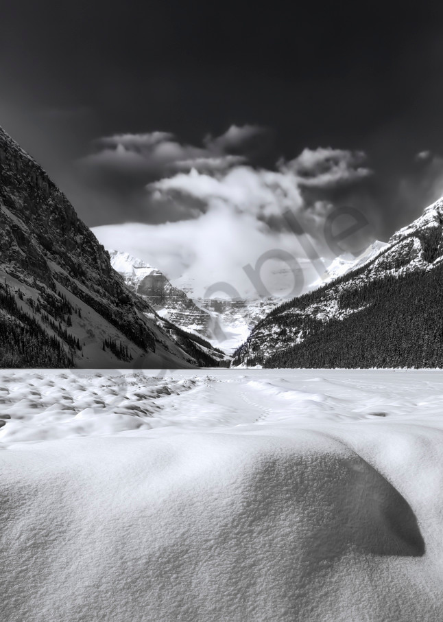 Lake Louise under a winter coat. Banff National Park| Canadian Rockies | Rocky Mountains|