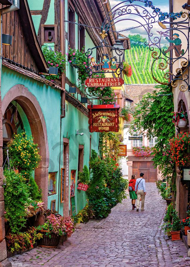 Art Print Colmar France Colorful Alleyway