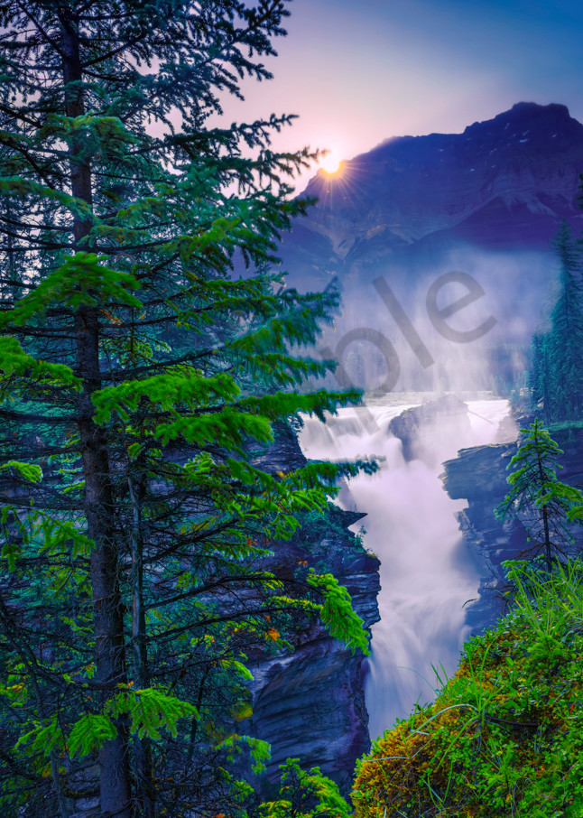 Athabasca Falls in Jasper National Park. Canadian Rockies|Rocky Mountains|