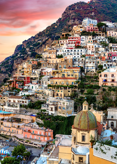 Print Art Positano Italy Charming Hillside Village