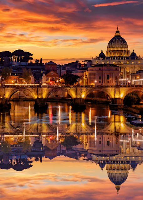 Print Art Vatican City Rome Italy Tiber River and Sunset