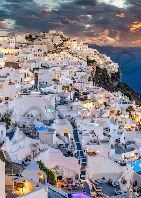 Print Art Imerovigli Santorini Greece Caldera Sunset