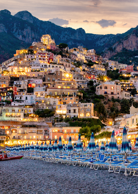 Print Art Positano Italy Beach and Amalfi Village