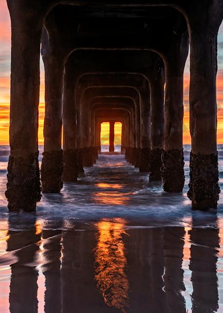 Print Art Manhattan Beach Pier New Year and Sunset