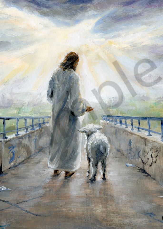 """Jesus With Lamb On Graffiti Bridge"" by Melani Pyke   Prophetics Gallery"