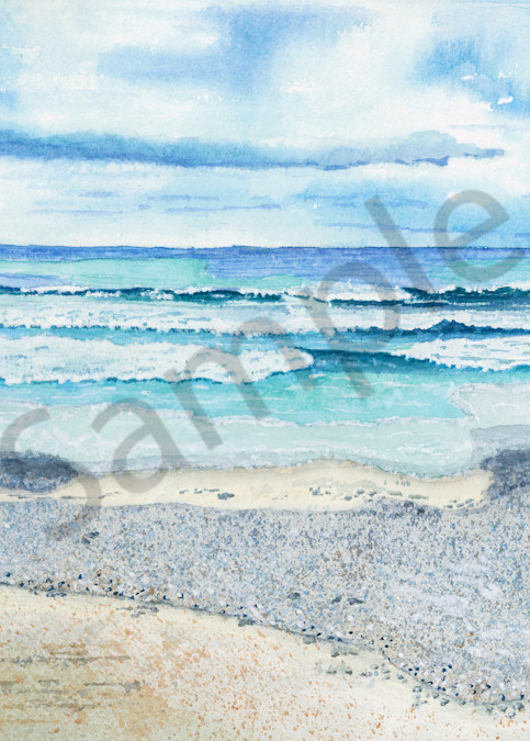 """Gloomy Day Beach Waves"" - Watercolor Painting Reproduction"