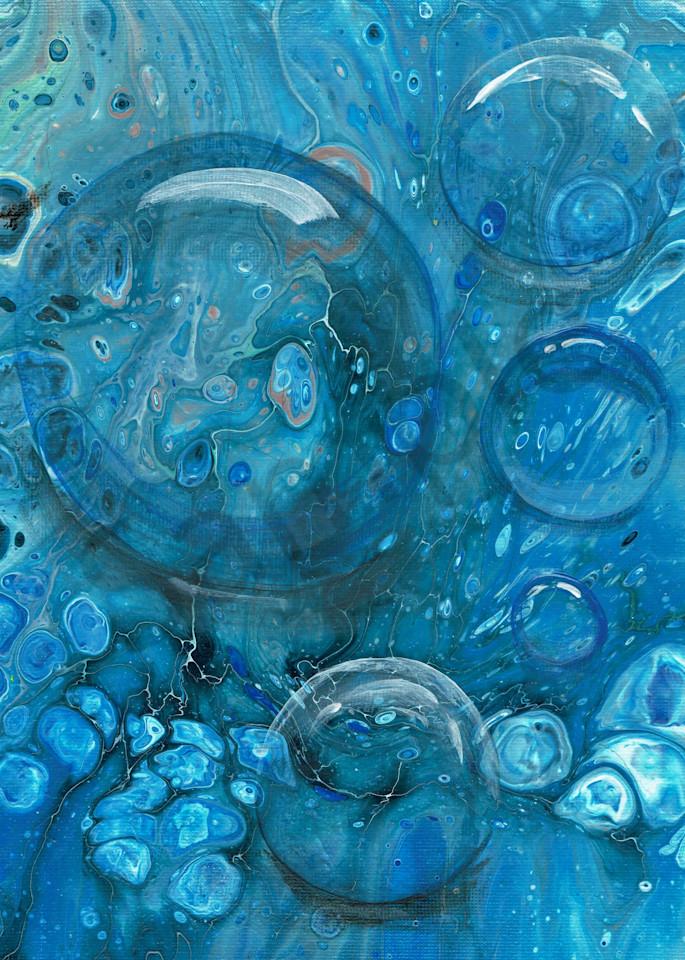 Blue Bubbly Fluid Art Acrylic Pour Painting