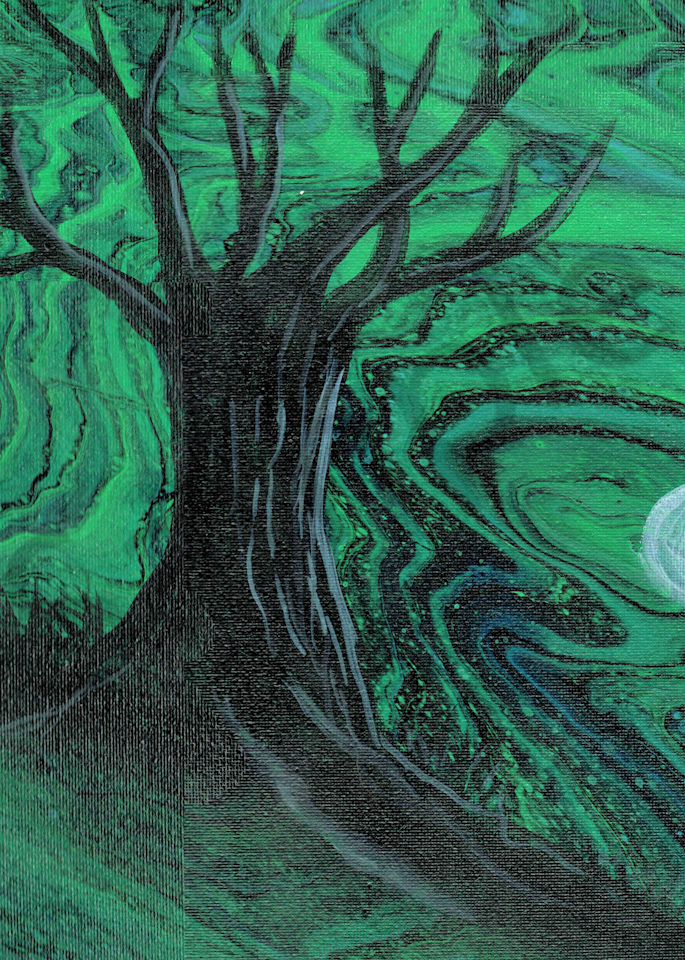 Embellished Tree Fluid Art Acrylic Pour Painting